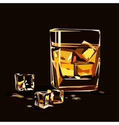 Glass of whiskey isolated with ice cubes vector image