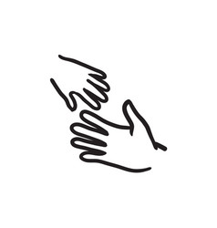 hands of parent and child sketch icon vector image vector image