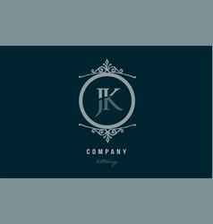 jk j k blue decorative monogram alphabet letter vector image