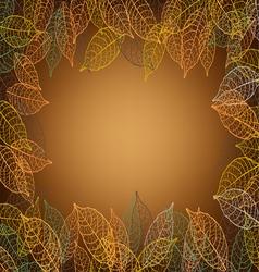 leaves frame brown background vector image