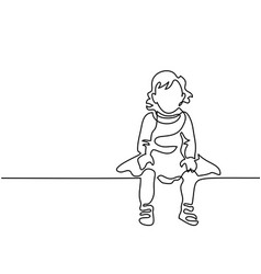 little girl dressed up sitting vector image vector image