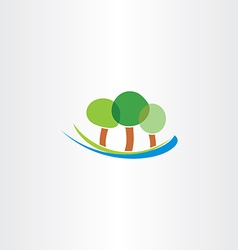 River and trees icon landscape logo icon vector