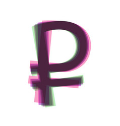 Ruble sign colorful icon shaked with vector