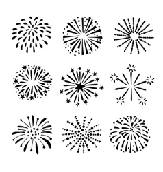 Set of hand drawn fireworks sunbursts Isolated vector image vector image