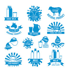 set of milk labels of vector image