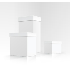 Set of white carton boxes different sizes isolated vector