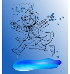 Sketch boy under rain spring jump in the puddles vector