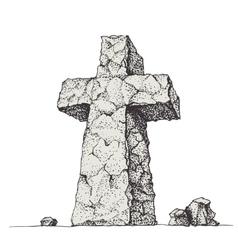 Stone cross vector image vector image