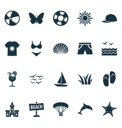 Sun icons set with mammal skydiving sea star and vector