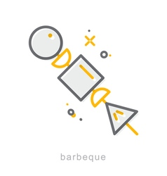 Thin line icons barbeque vector