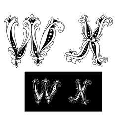 Title retro letters W and X vector image
