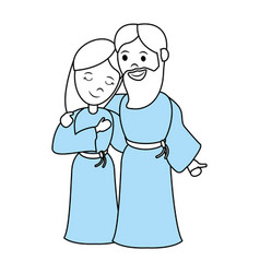 virgin mary and saint joseph cartoon vector image vector image