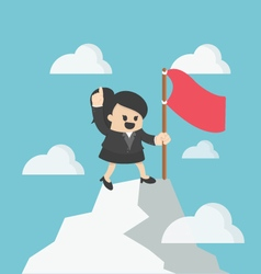 Woman flag on th to the mountain top Reaching vector image
