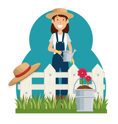 woman gardener avatar character icon vector image vector image