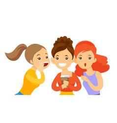 Young caucasian white women sharing gossips vector