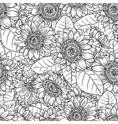 Black and white seamless pattern with sunflower vector