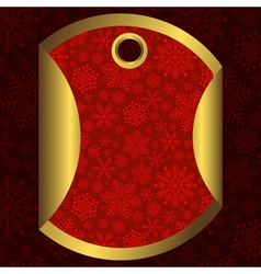 Round red and gold banner with snowflakes vector image