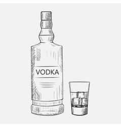 Hand drawn set of vodka elements vector