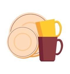 Dishes and cups isolated icon vector
