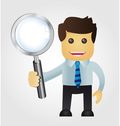 Business man with Magnifying Glass vector image