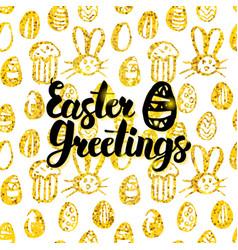 Easter greetings handwritten card vector
