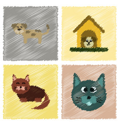Assembly flat shading style icons dog cats pets vector