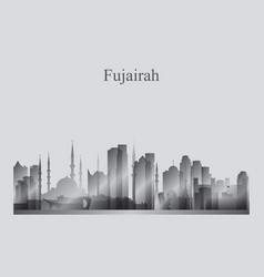 Fujairah city skyline silhouette in grayscale vector