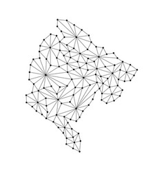 Montenegro map of polygonal mosaic lines network vector