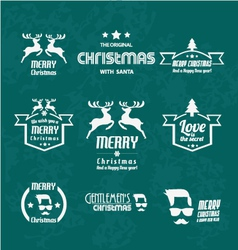 Set of christmas vintages for christmas vector