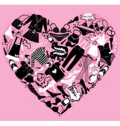 I love shopping image the heart is made of differe vector