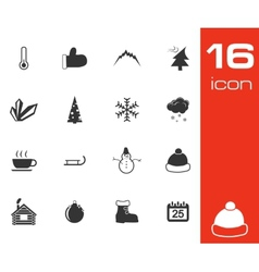 Black winter icons set vector