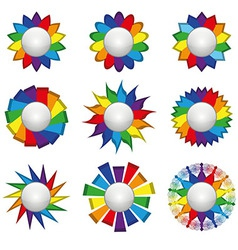 Set of nine icons of rainbow on a white background vector