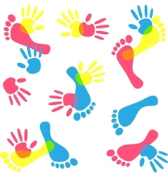 Colorful hand prints and foot vector