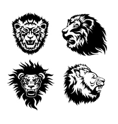 Growling lion tattoo vector