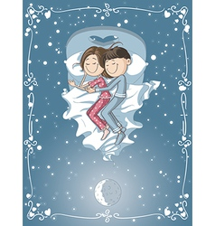 Cute cartoon couple cuddles in bed vector