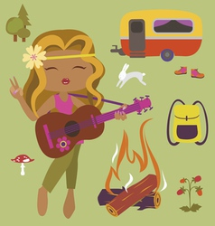 Camping set with girl guitarist vector