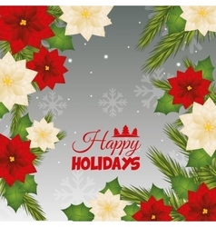 Happy holidays and merry christmas card design vector