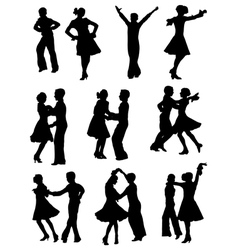 Collection of silhouettes of dancing children vector