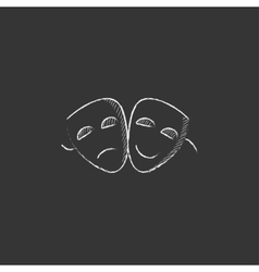Two theatrical masks drawn in chalk icon vector