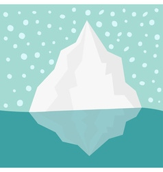 Iceberg blue water snow flake in the sky flat vector