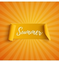 Summer yellow curved banner vector image