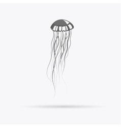 Monochrome jellyfish floating in space vector