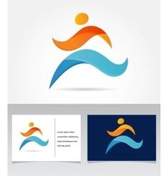 Running marathon people run colorful icon vector