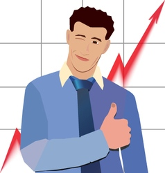 Businessman winks thumbs up with red graph up vector