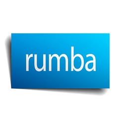 Rumba blue paper sign on white background vector