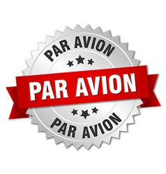 Par avion 3d silver badge with red ribbon vector
