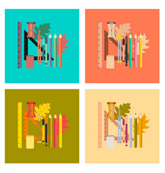 Assembly flat icons on stylish background pencils vector