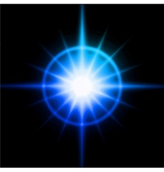 Blue luminous star Lens flare effect vector image vector image