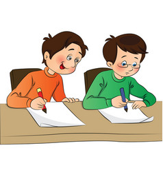 Boy copying from other students paper vector