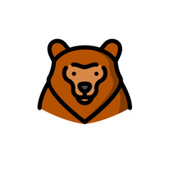 Brown grizzly bear vector